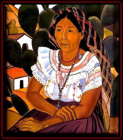 """""""India de Panchimalco"""" (1935)- José Mejía Vides   Este cuadro muestra la influencia de Gauguin. Hacía apenas unos años atrás (1932) había sucedido la peor matanza de indios y campesinos por el complejo militar/oligárquico en El salvador, cuando Mejía Vides exaltaba la raza indígena con esta obra naturalista. Líneas, detalles y colores galvanizan el carácter autóctono del trabajo."""