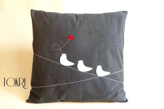 Pillow, cushion cover in grey / charcoal with appliqued white felt love birds, decorative housewares, living room, bedroom decor 40 x 40 cm