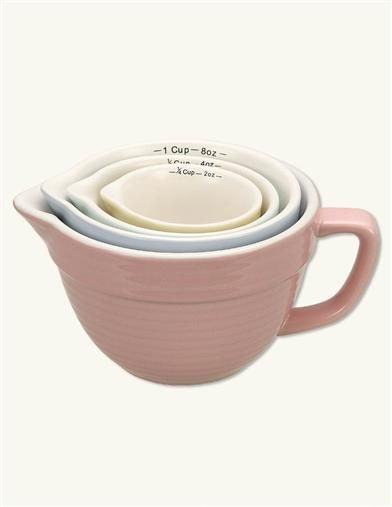 """Batter Bowl"" Pastel Nesting Measuring Cups, Stoneware"