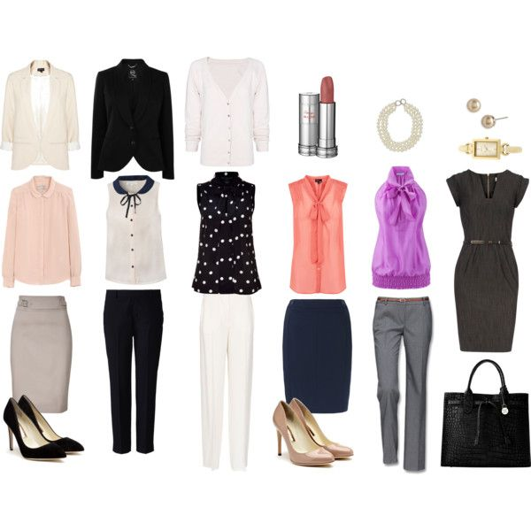 """""""business casual"""" by self-makeover on Polyvore I would do some mixing and matching here but I like a few o the pieces."""