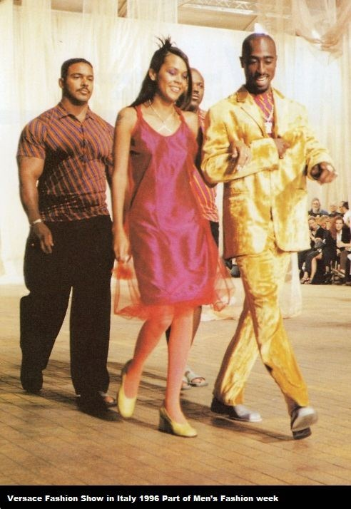 Versace Fashion Show in Italy 1996 because the designer appreciated Tupac's body as ideally proportioned.
