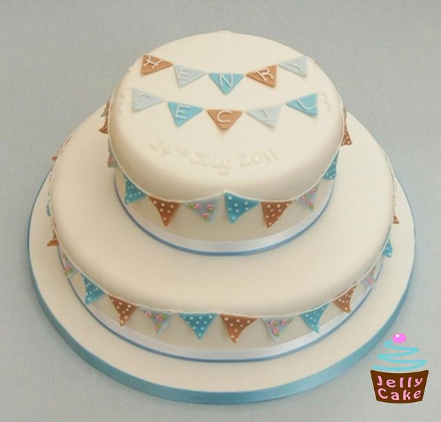 Boys Bunting Christening Cake by www.jellycake.co.uk, via Flickr