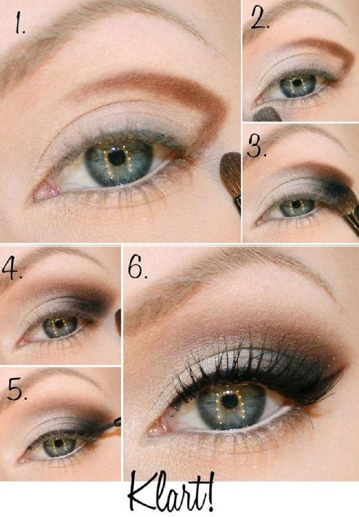 Don't be afraid to combine brown and black! First, make the contours with brown eyeshadow above the already existing white eyeshadow base. Then, apply a little black with a blending brush. This gives you effect of that smoky look, where the black fades away and blends with the skin.