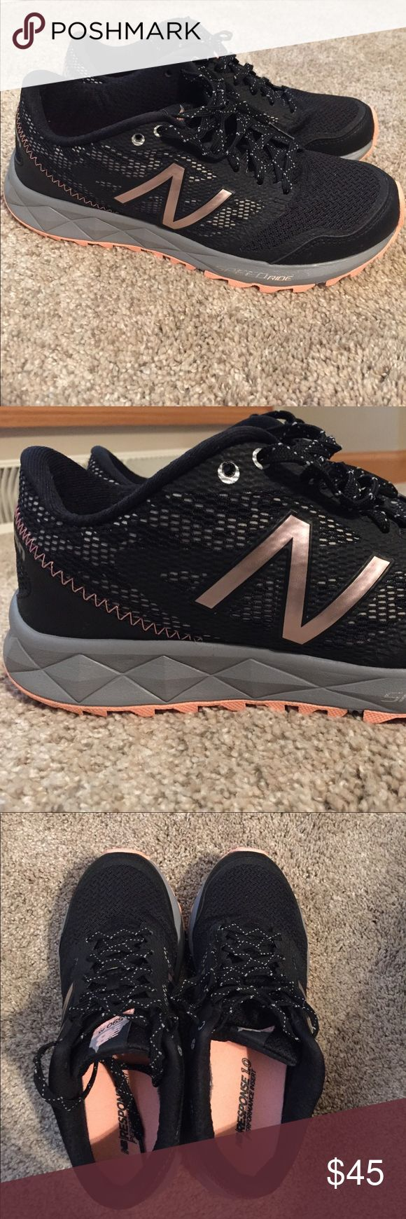 """New Balance all terrain running shoes Black running shoes with gray. Pale coral soles. """"N"""" on the sides is rose gold. Super cute, comfortable and in perfect condition - worn twice! Size 7. New Balance Shoes Athletic Shoes"""