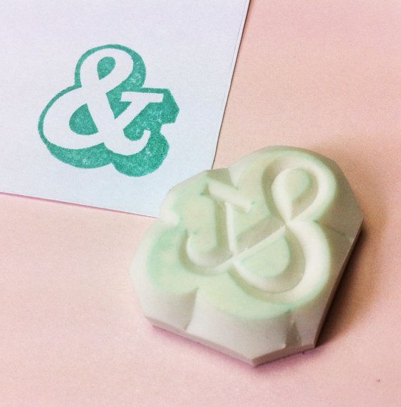 Ampersand hand carved stamp no.2  wedding rubber stamp door theKeris, $5.75