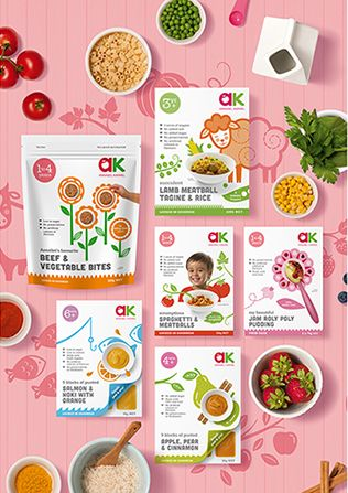Food illustrations and packaging designs for baby, toddler and children's food range by Annabel Karmel. Designs by Dessein, Australia.