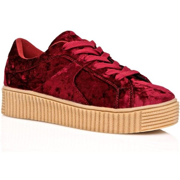 Red Crushed Velvet Creeper Sneakers ($24) ❤ liked on Polyvore featuring shoes, sneakers, roll up shoes, laced sneakers, lace up sneakers, creeper shoes and lace up shoes