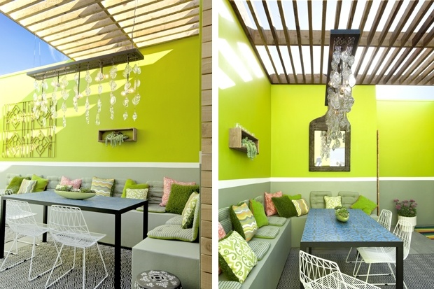 The designers at Potted created a bright outdoor space that functions as an additional room to the house.