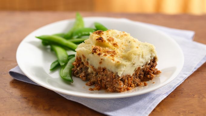 A meat-and-potato lovers' paradise…tangy meatloaf topped with garlic mashed potatoes!