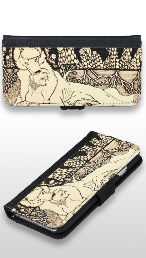 """""""Across the Border"""" Black and white dog and wolf couple Wallet Case"""