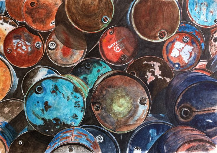 Oil barrels-Watercolour-Joke van der Klink