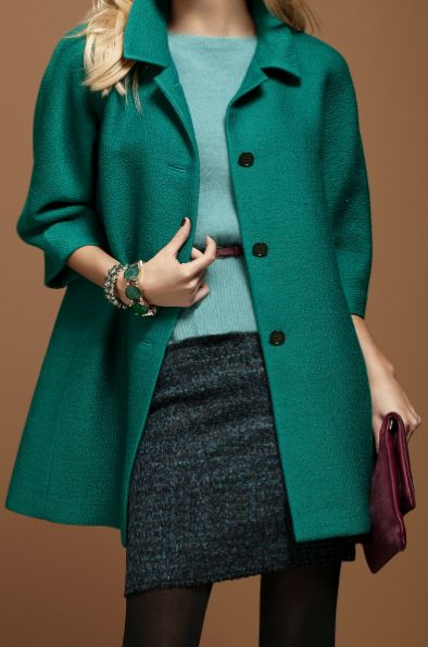 Ann Taylor pea coat and pencil skirt with pantyhose. Work Fashion Style
