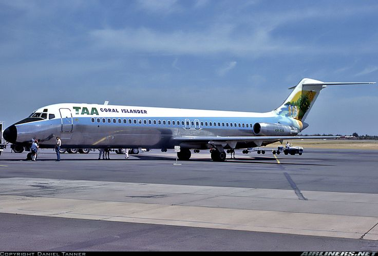 "Trans Australia Airlines - TAA Douglas DC-9-31 VH-TJL at Adelaide-International, March 1980. Special ""Coral Islander"" livery. (Photo: Daniel Tanner)"