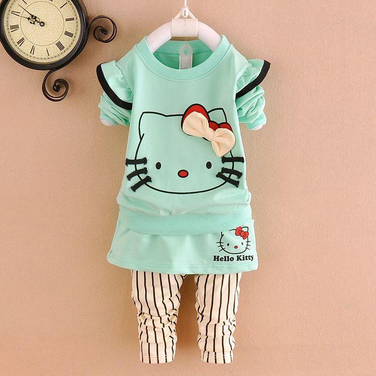 2015 детские девушки hello kitty одежда устанавливает дети девушки костюмы kitty детские мультики костюмы весенние костюмы для новорожденных девочек