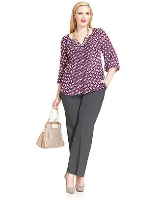 Work Your Wardrobe Plus Size Modern Pants & Printed Top Look - Plus Size Suits & Separates - Plus Sizes - Macys