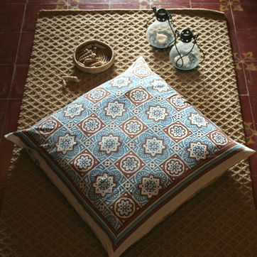 Ocean Breezes~ Rustic Blue Brown Moroccan Beach Euro Pillow Sham