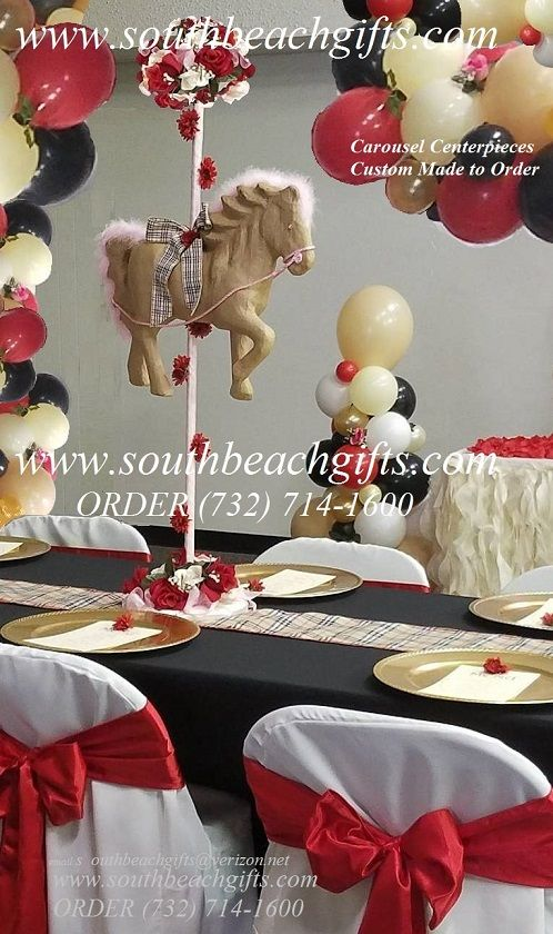 Horses for Sale Baby Shower Party ideas.Carousel horse decoration for table top for your guests. Party Supplies Merry Go round Horses for sale.Carousel 1st First Birthday  Party Ideas center pieces, RED, White & Tan & Brown plaid  theme. Pony theme. Western theme.Toddler Carosell Kids Party.Order (732)714-1600 Email: southbeachgifts@verizon.net
