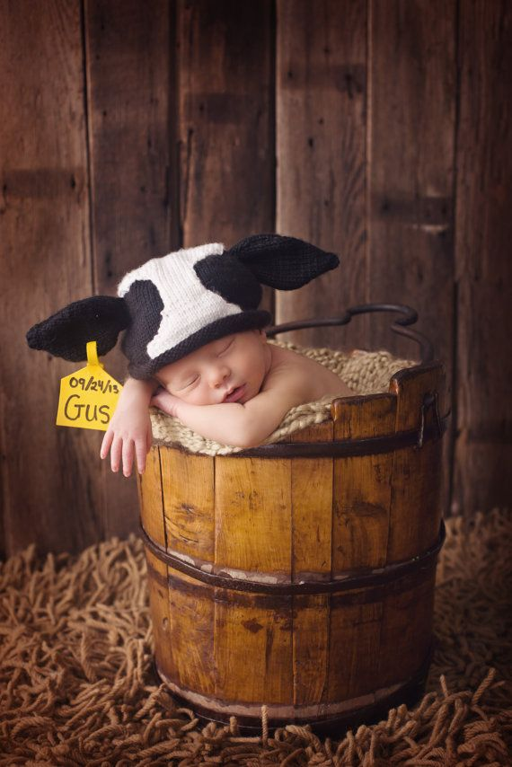 Adorable Original Newborn Cow Hat   designed and created by Pamela Husereau
