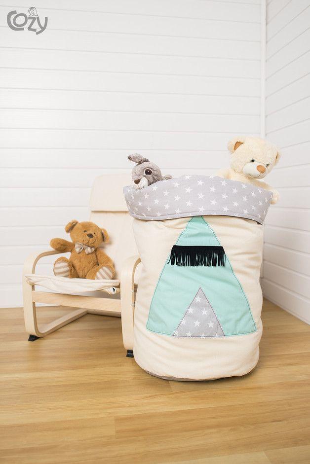 Stoffsack, Utensilo zur Aufbewahrung von Spielzeug und Kleidung / toy storage pouch made by Cozydots via DaWanda.com