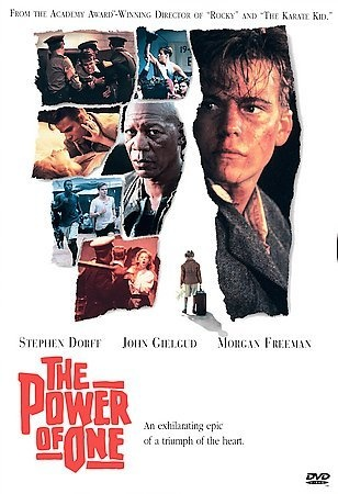 The Power of One [PN1997 .P68 1999] The Power of One is an intriguing story of a young English boy named Peekay and his passion for changing the world. Growing up he suffered as the only English boy in an Afrikaans school. ... Director:John G. Avildsen Writers:Bryce Courtenay (novel), Robert Mark Kamen (screenplay) Stars:Nomadlozi Kubheka, Armin Mueller-Stahl, Morgan Freeman