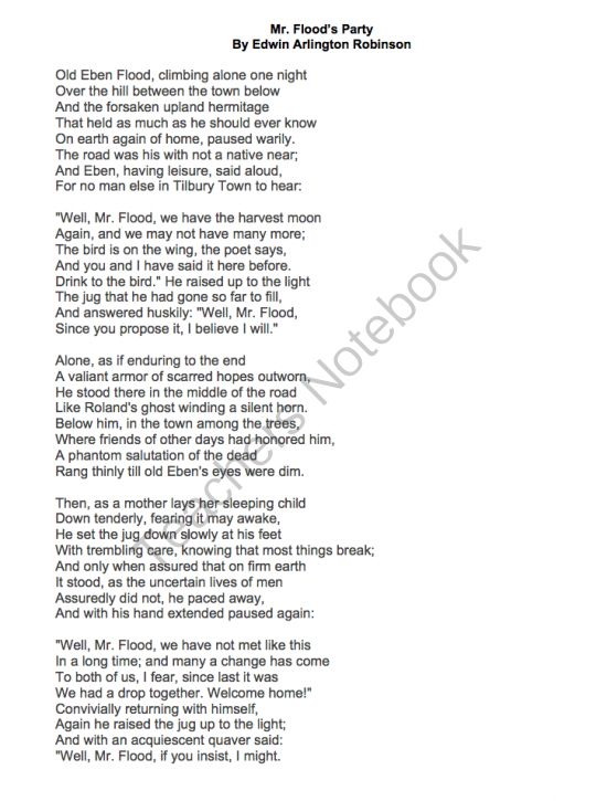 An analysis of the poem mr floods party by edwin arlington robinson