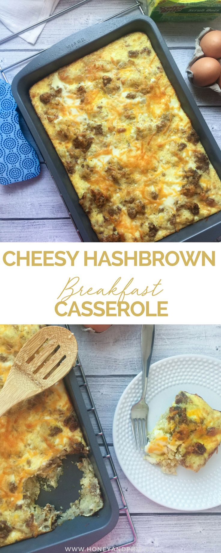 Need to feed a crowd for breakfast? This cheesy sausage hashbrown breakfast casserole is just the thing you need! Get the full breakfast recipe on Honey and Pine! #PowerOfDots #ad