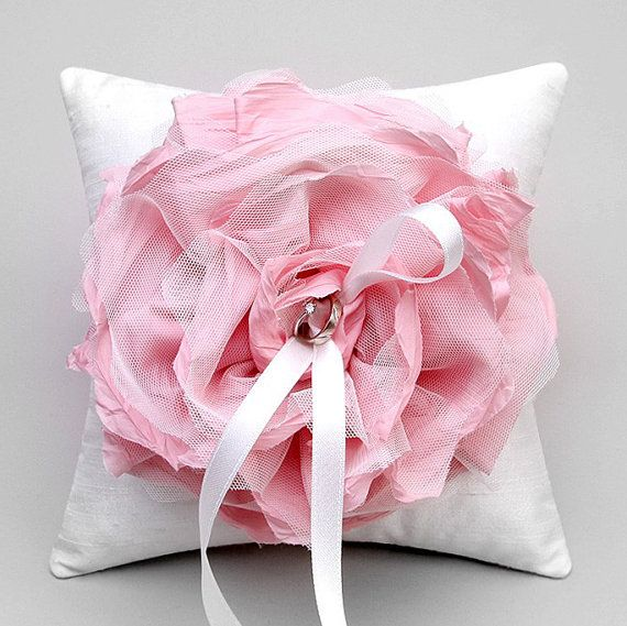 Wedding ring pillow  pink flower bridal ring bearer by woomipyo, $40.00
