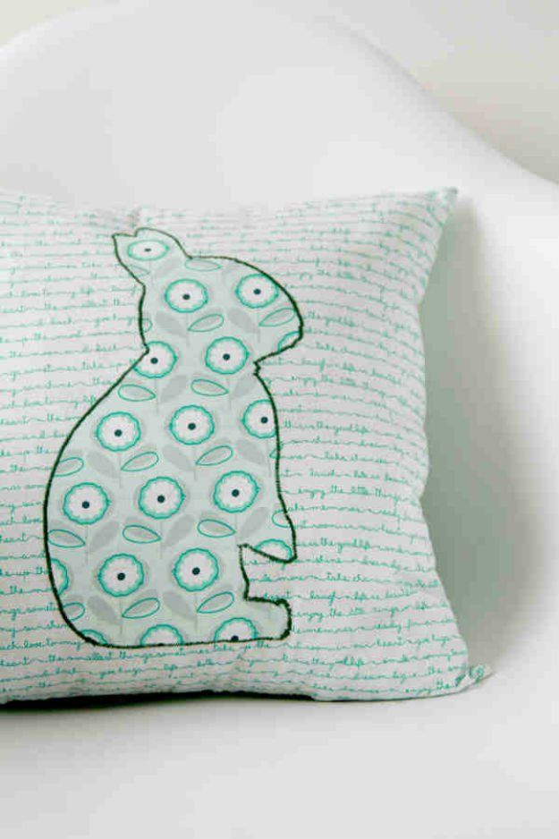 17 Fun and Simple DIY Pillow Ideas: 13 embroided rabbit pillow & 95 best Cushions Poufs \u0026 Throw Pillows DIY Designs images on ... pillowsntoast.com