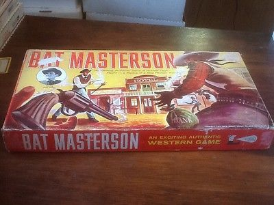 P990. Vintage: BAT MASTERSON BOARD GAME Starring Gene Barry Lowell (c 1958) {