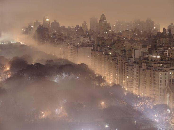 Villes, paysages, new york, new york, ville, veilleuses, brouillard, central park, central park Wallpaper