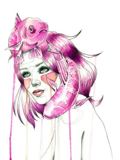 """Pisces"" Art Print by Mia Desu | Society6"