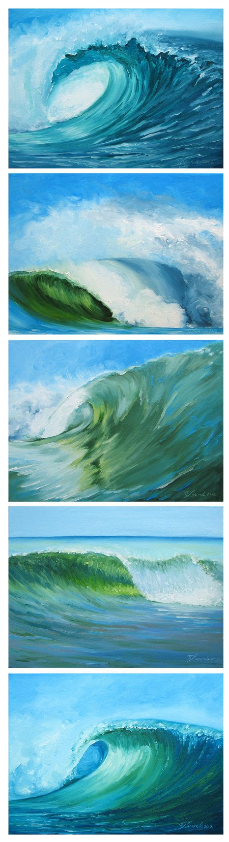 GICLEE ~ 8 1/2 x 11 Fine art reproduction prints of 5 of my original wave paintings, as shown in the series. Specification: -acid free, archival -pure pigment inks rated at 200 yrs Comes packaged in a protective crystal clear sleeve. Titled & Signed