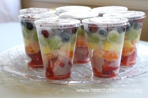 Rainbow Fruit in a Cup... great snack for a weather theme!