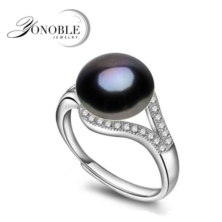 Natuurlijke parel ringen wedding zoetwater Zwarte Ringen voor Vrouwen verstelbare ring 925 zilveren sieraden meisje engagement Verjaardagscadeau