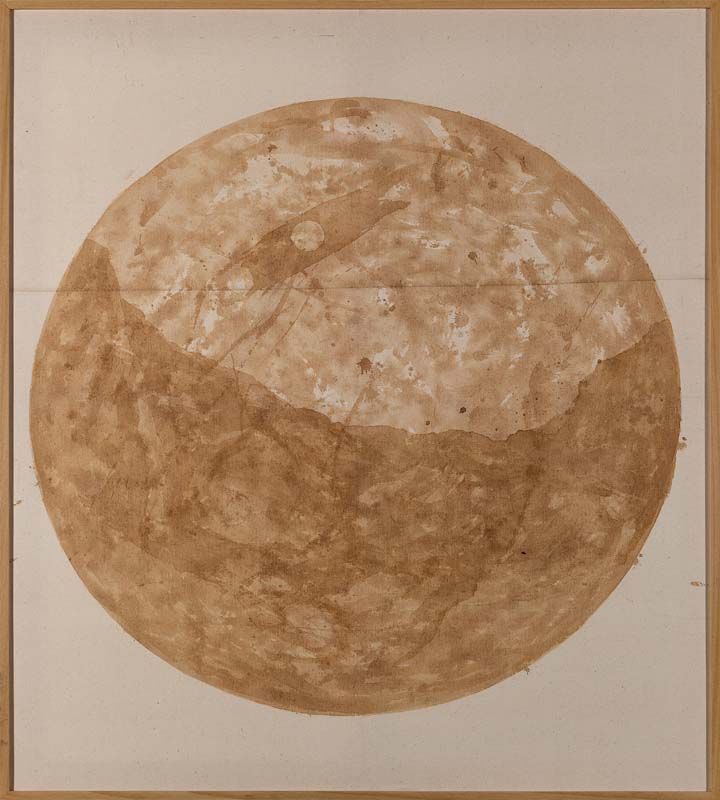 Minam Apang Untitled | Moon Mirrors Mountains Series | 2013 | Tea on cloth | 44 x 38.5 in.