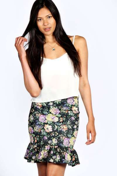 Mariah Floral Print Fit & Flare Skirt at boohoo.com