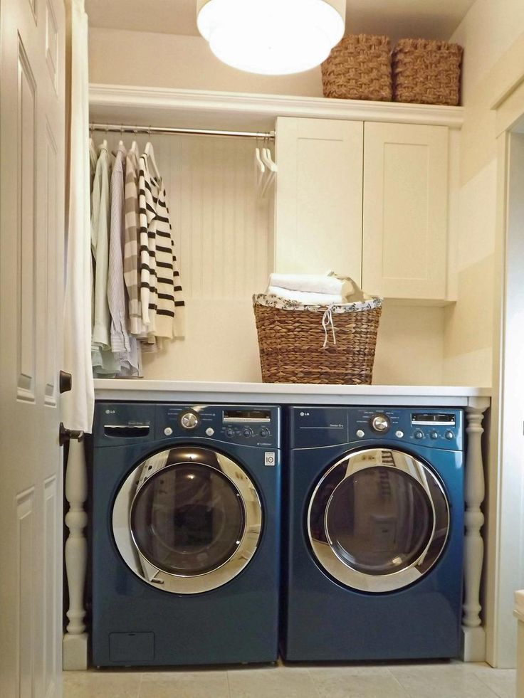 """""""We did two major things that changed my laundry life for the better,"""" says Ashli. """"The first was adding a counter above the washer and dryer — no more fishing out socks from behind the dryer. Second was the addition of a rod instead of a cabinet. It is so nice to have a dedicated spot to hang wet clothes."""""""