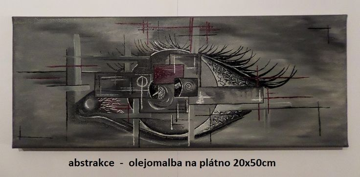 malba olejem na plátno 20x50cm Abstrakce