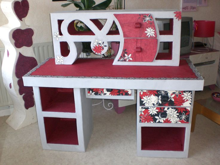 Cardboard and paper mache bureau - office paint finish, mulberry paper, wrapping paper and tissue paper.