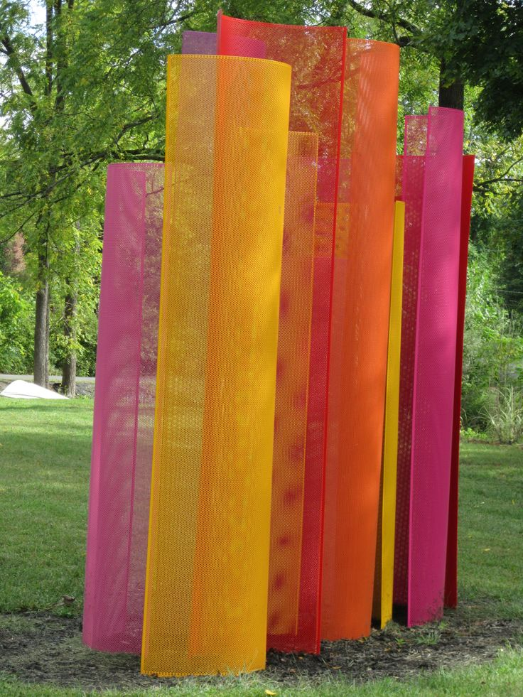 'Color Field' metal sculpture by Shelley Parriott at SPAF in Saugerties. The light shines thru the holes in the metal, changing the colors as you walk round the sculpture.