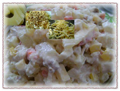Ананасовый салат яйцо сыр курица