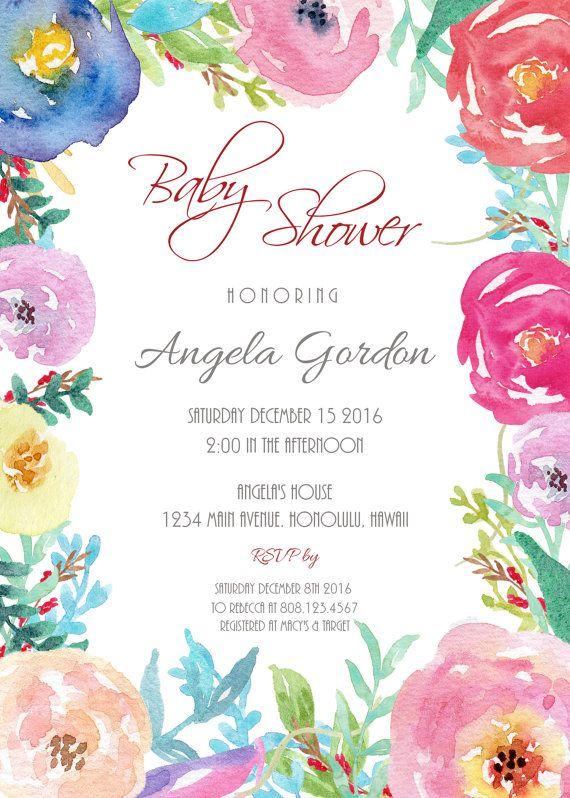 Flores bebé ducha invitación imprimible por StrawberryPartyPrint