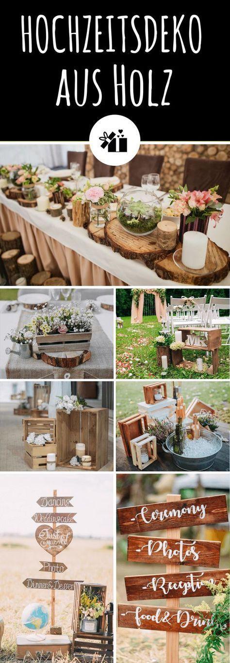 35 Ideen für eine rustikale Hochzeitsdeko aus Holz – Hochzeitskiste