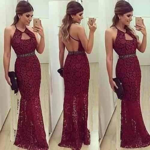 Vestido Longo Marsala Vinho Rabo De Sereia #vl6 Costas Nuas - R$ 189,90