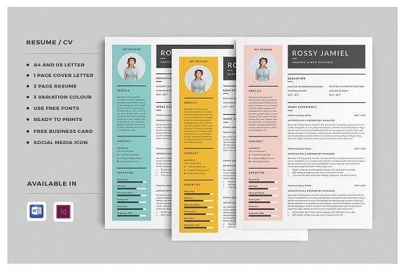 Resume/CV | Rossy by Occy Design on @creativemarket #resumedesign #resume #resumedesign #coverletter