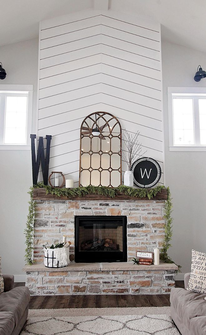 Farmhouse Fireplace with shiplap and brick. I knew I