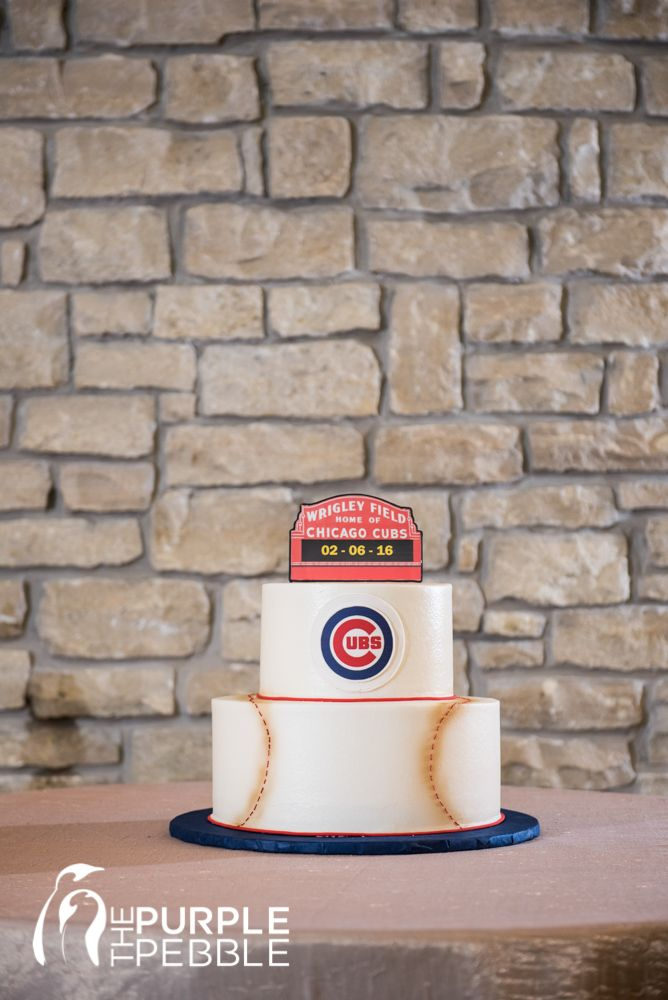 Cubs Baseball Grooms Cake Creme de la Creme Cake Company The Purple Pebble Photography