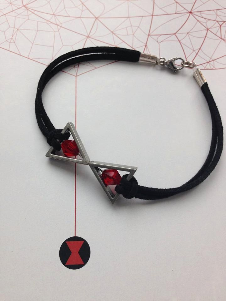 Black Widow Bracelet - Natasha Romanoff inspired Black Faux Suede & Red Crystal Beads - Marvel Comics Avengers Nerd Jewelry and Geeky Gifts by BombDotComGeekery on Etsy