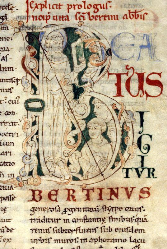 Bibliothèque municipale de Dijon - ms. 0642, f. 062 Vitae sanctorum / Saint Bertin « cliché CNRS - IRHT »