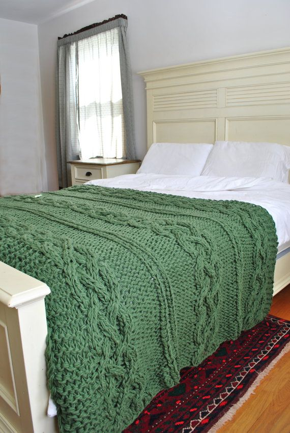 Chunky Cable Knit Throw Blanket in Sage Green Cabled Wool Hand Knitted Blanket In Stock NOW on Etsy, $239.00